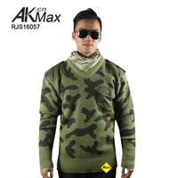 Woodland military wool pullover combat sweater