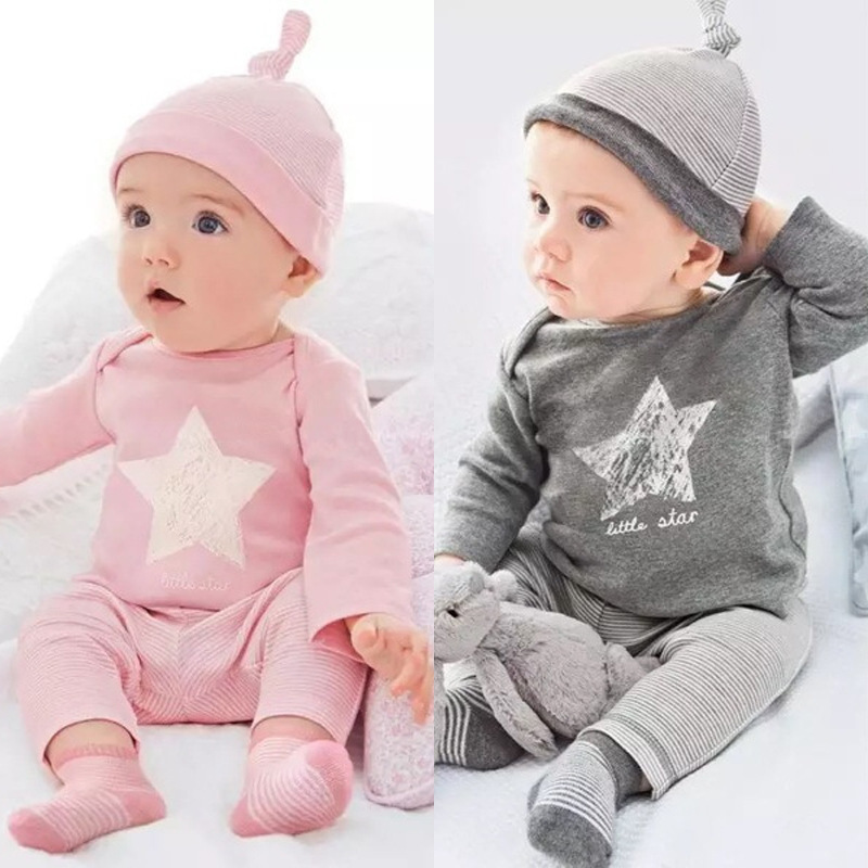 Hot style children's suit Ins five - star long sleeve trousers + hat three-piece suit