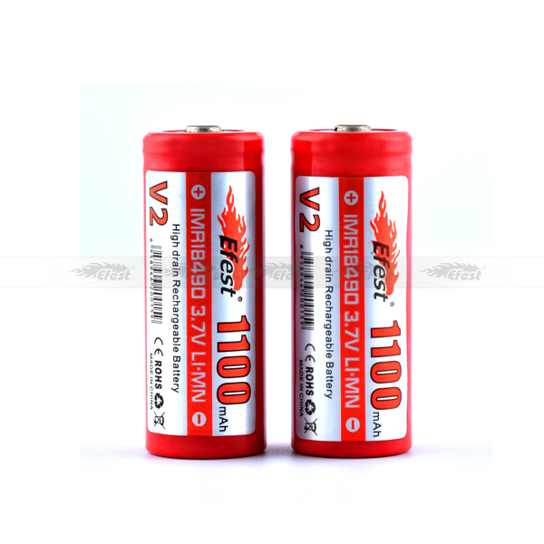 In stock! Wholesale price 3.7V IMR efest battery 18650 /18500/18350/18490 imr efest 18490 1100mah e cig mod batteries