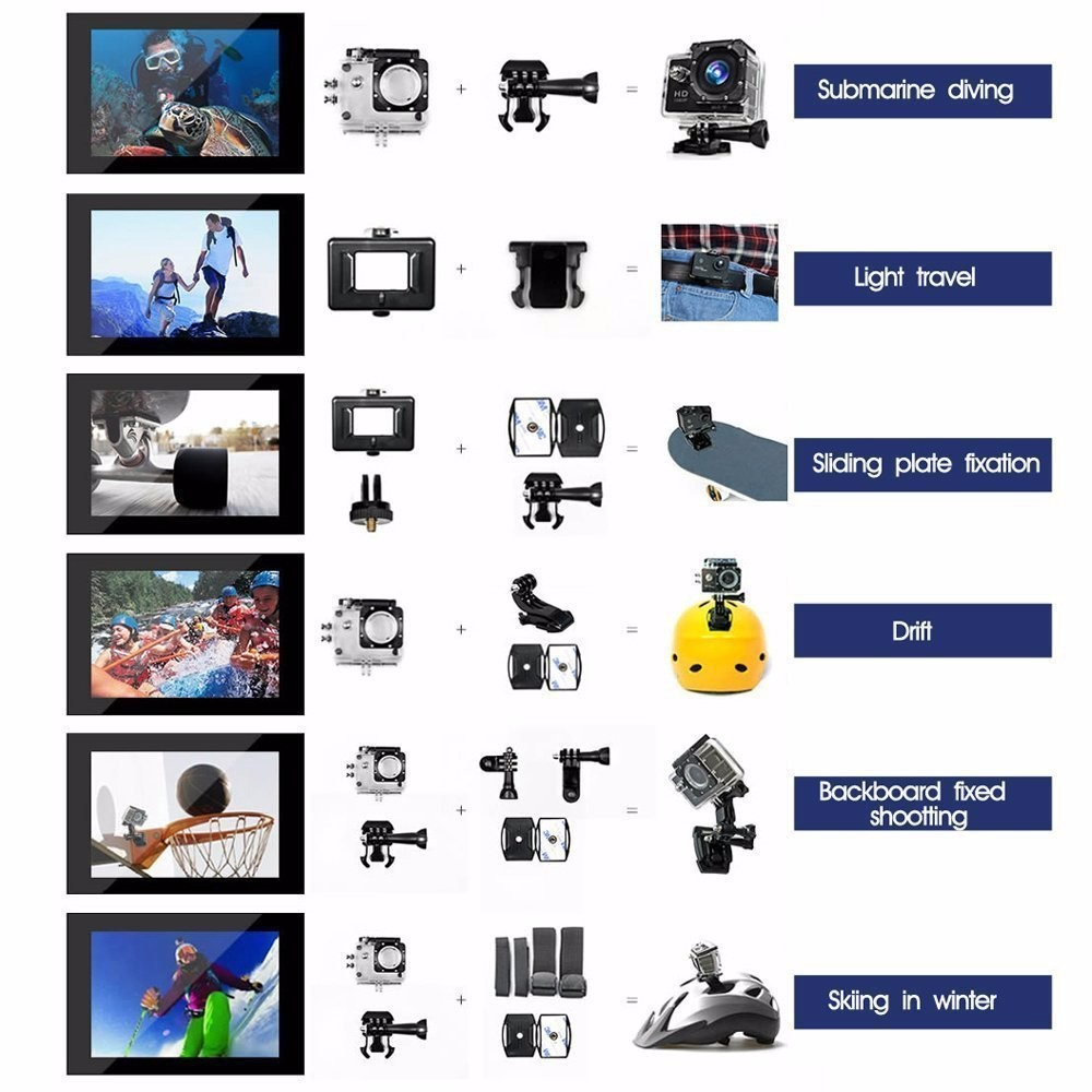 "New design 16MP Go Pro action camera 4k Underwater 30M 2.0"" LCD touch screen"