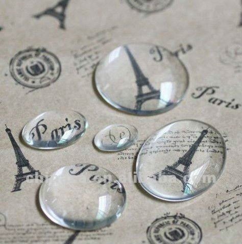 flat on bottom, domed on top bulk glass cabochons for ring blanks, pendants, earrings // wholesale Clear glass domed beads