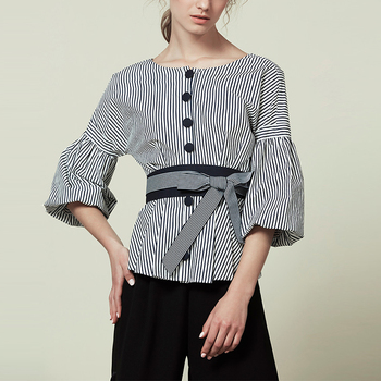 Fashion Womans Big Sleeve Blouse With Stripe