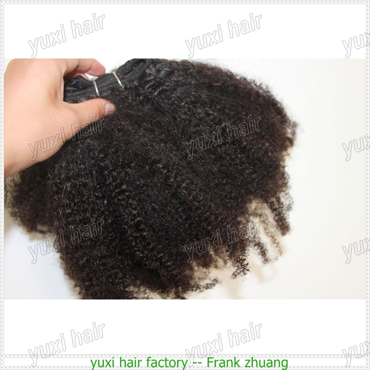 100% Virgin mongolian unprocessed no chemical popular afro kinky human hair weave