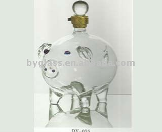hand-made crystal borosilicate blown glass art bottle shape pig