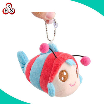 Lovely soft toy stuffed bee keychain plush bee keychain