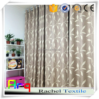 "jacquard leaf design polyester cotton t/c fabric linen look good quality 110"" size countryside style curtain wholesae"