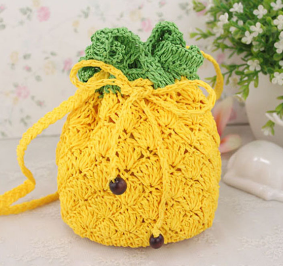 New fashion moroccan straw beach bag summer Pineapple shaped straw bag