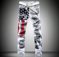 American Flag Print Pattern Design Men Name Brand Silver Cheap Jeans