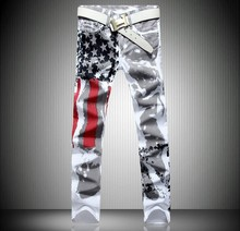 American Flag Print Pattern Design Men Name Brand Silver Cheap Jeans