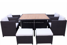 8 person dining table and chair with cover