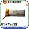 small 601230 rechargebale 3.7v polymer li-ion battery 3.7v 150mah