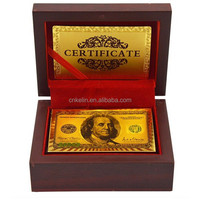Best selling products for America 3D 100 dollar 24k gold custom playing card, 24K gold plated design playing card