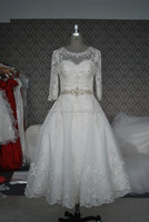 (MY0093) Marry You China Factory Custom Made Crystal Beaded Tea Length Wedding Dress Patterns