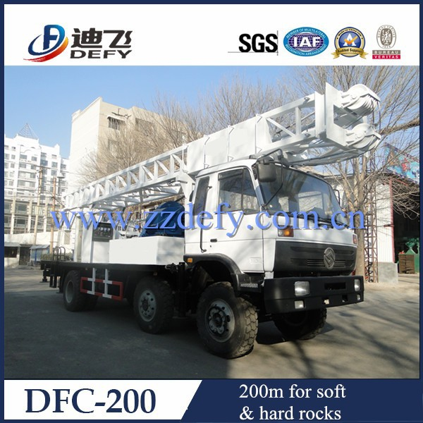 Rotary drilling rig machine / water bores for domestic and irrgation / hydraulic / 6*4 drive truck mounted 200m | DFC-200