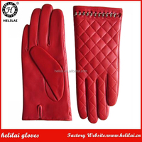 Women's Red Quilted Dress Gloves Ladies Chain Trimmed High Quality Lamb Nappa Leather Gloves Winter Warm Wool Lined GLoves