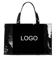 Vintage Simple Large Capacity Custom Logo Plastic Transparent Handbag PVC Coated Shopping Tote <strong>Bag</strong>