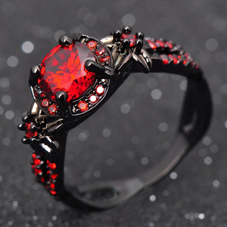 ZL4072 Fashion Flowers Shiny Red Ring Women Charming Jewelry Black Gold Filled engagement Ring