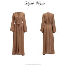 Wholesale front open abaya with waist band tie design muslim women ladies abaya long sleeves design muslim kimono abaya