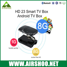 Smart tv box HD23 RAM 1GB ROM 8GB Android 5.1 OS Quad core internet with camera and microphone Android tv box webcam