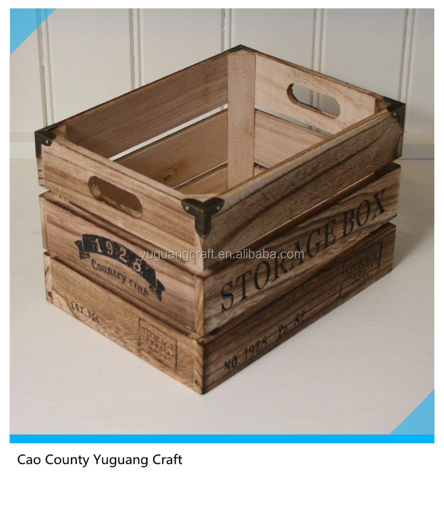 Wooden crates rustic vintage look storage box crate shabby for Old wooden crates