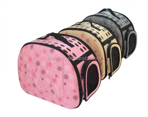Factory low MOQ breathable airline approved custom emboss paw fold eva pet carrier bag, traveling dog cat bag home