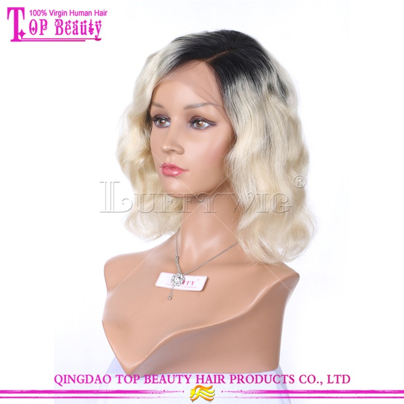 "2016 Popular 10"" 130% density 1b ombre #613 bob style wavy full lace ombre human Short hair wigs"