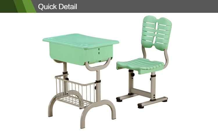 Modern furniture school new design single student desk and chair , nursery school furniture classroom desk and chair CT-340