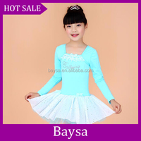Hot sale training milk silk children kids latin dance clothing top and skirt children dance training costumes BC564