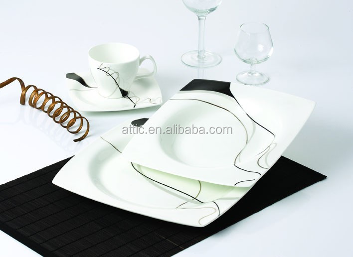 30pcs Royal Fine Bone Chinaware Square Dinner Sets Dinnerware for 6 people