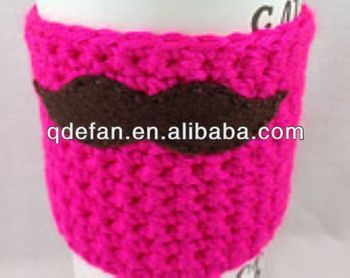 efan hand knitted crochet coffee-cup sleeve