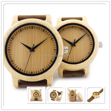 Brand watches couple wood leather band watch with cheapest factory price