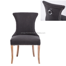Modern Luxury Metal Ring Back Dark Grey Studded French Dining Room Chair ( YJ-8008)
