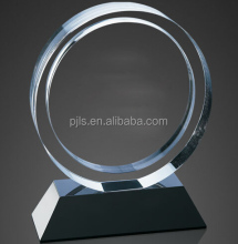 round shape crystal award with black base