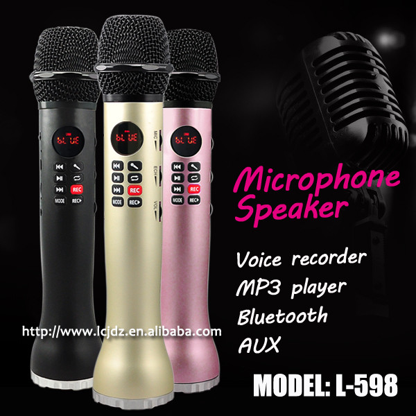 L-598 portable mini wireless bluetooth speaker with microphone for karaoke singing