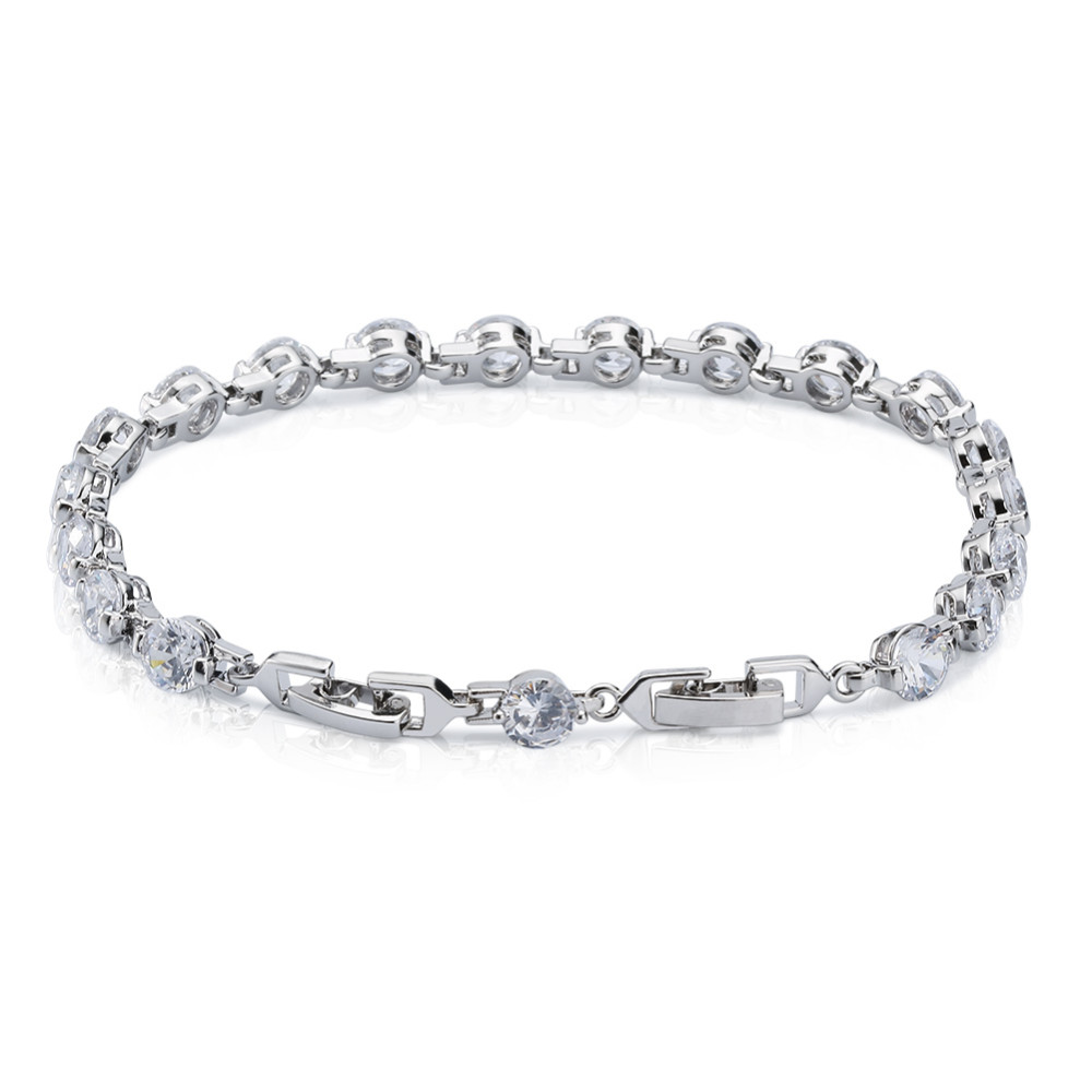 Women Luxury White Gold Plated Sterling Silver jewelry Cubic Zirconia Tennis Bracelet