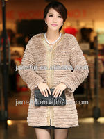 rex rabbit fur with chiffon fur coat Metal chain accessories placket