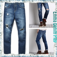 Standard Size Male Distressed Acid Washed Straight Leg Fitted Jeans Urban Fashion