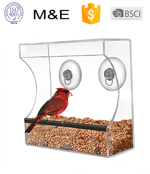 High Quality Clear Acrylic Window Hanging Wild Bird Feeder with Suction Cup