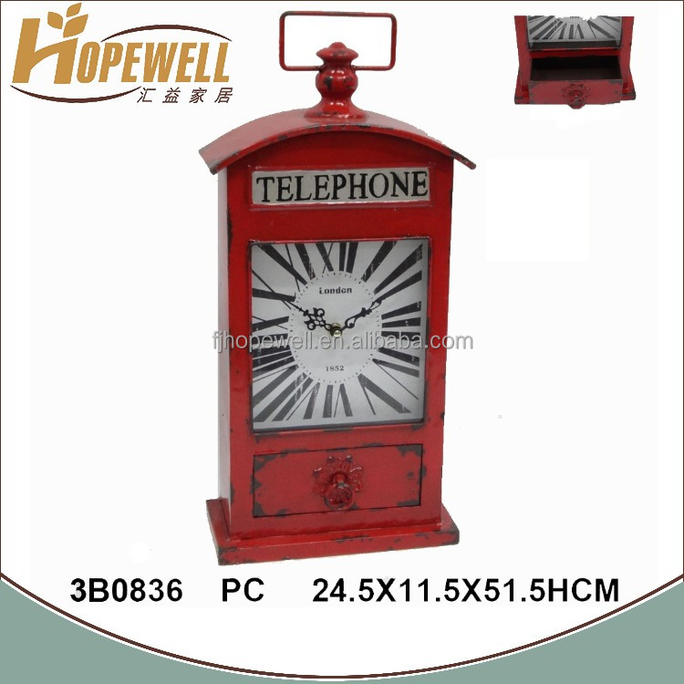 wholesale red vintage telephone metal table clock for sale