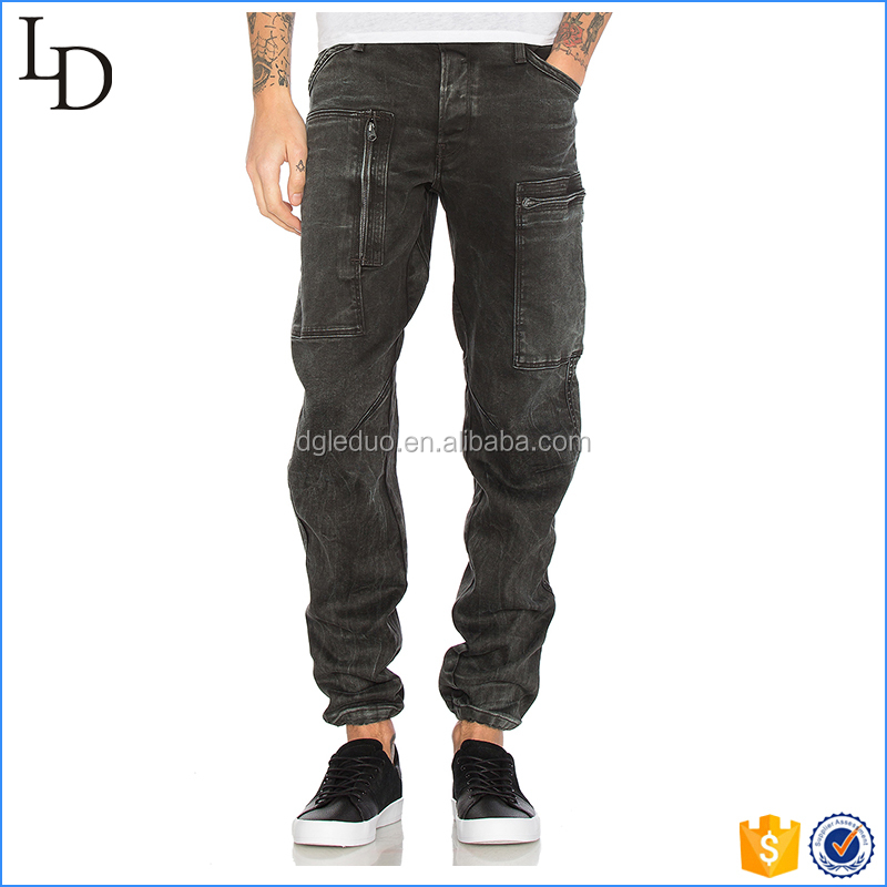 Drawcord leg openings black mens side pocket jeans 2017 fashion jeans