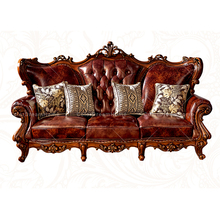 High Quality Leather Living Room Furniture Luxury Hand Carved Solid Wood Sofa set