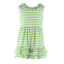 2016 summer baby girl's striped casual dresses sleeveless ruffle summer kids wear
