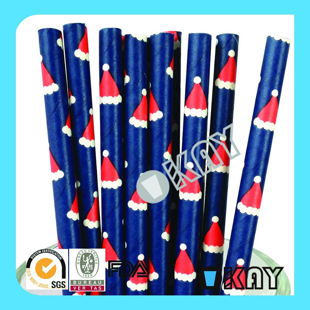New Design Red Christmas hat Paper Straws Import Party Supply