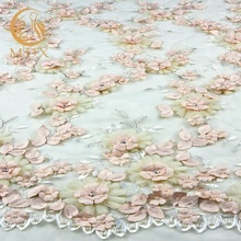 Peach tulle lace with 3D flowers handwork beaded lace fabric for fashion show