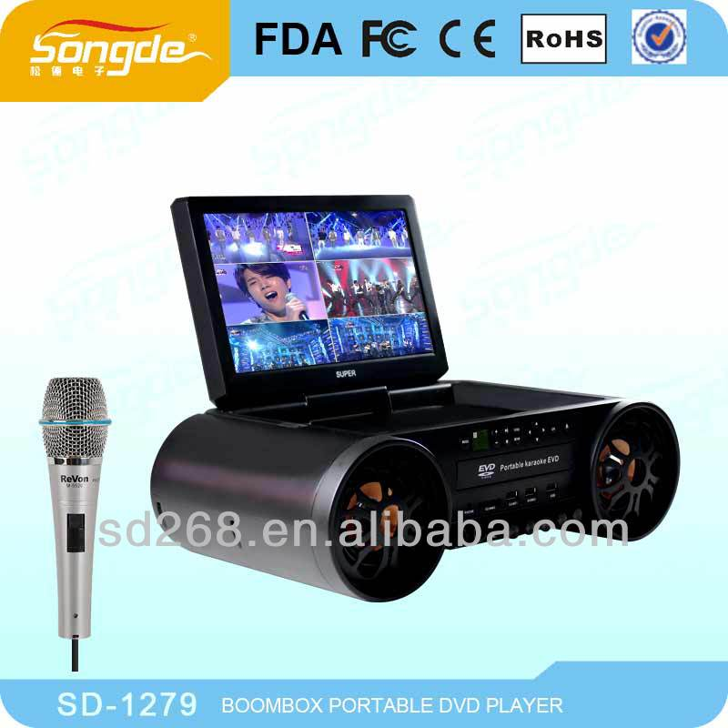 NEW Portable Karaoke DVD Player with 12 inch screen TV FM DVD player Game Li-Battery