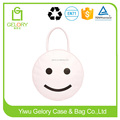 Cute round style and Custom smile printing Zip Cooler Bag