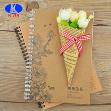 High quality OEM CMYK kraft paper A5 spiral binding notebook for adult