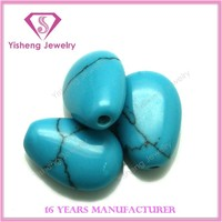 Hole Drilling Teardrop Shape Wholesale Blue Turquoise Cabochon Stone Beads