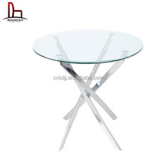 chrome steel frame modern dining table, glass dining table