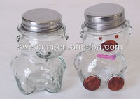 bear shape glass candy jar with metal lid